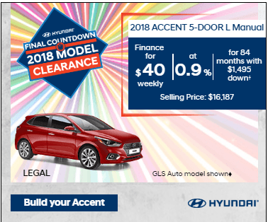 Final Countdown Clearance 2018 Accent 5-Door L Manual