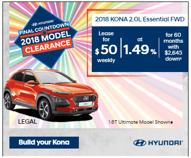 Final Countdown Clearance 2018 Kona 2.0L Essential FWD