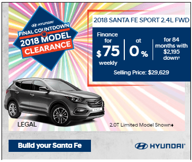 Final Countdown Clearance 2018 Sante Fe Sport 2.4L FWD